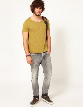Image 4 ofASOS T-Shirt With Raw Edge Scoop Neck