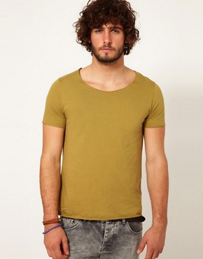 Image 1 ofASOS T-Shirt With Raw Edge Scoop Neck