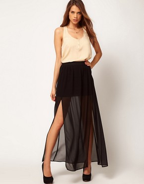 Image 1 ofASOS maxi Skirt with Double Split