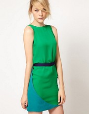 Halston Heritage Colourblock Mini Shift Dress In Silk