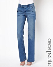 ASOS PETITE Tailored Wide Leg Jean In Vintage Wash