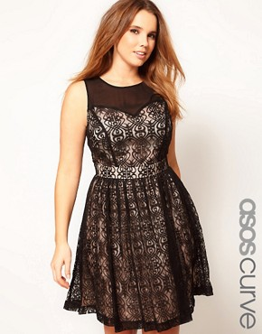 Image 1 ofASOS CURVE Exclusive Lace Dress With Mesh