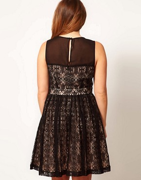 Image 2 ofASOS CURVE Exclusive Lace Dress With Mesh