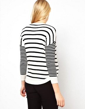 Image 2 ofASOS Maternity Jumper in Stripe With Button Side