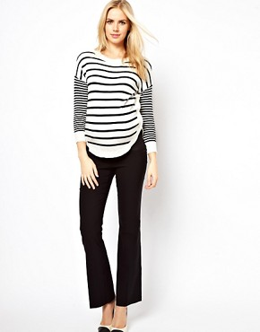 Image 4 ofASOS Maternity Jumper in Stripe With Button Side