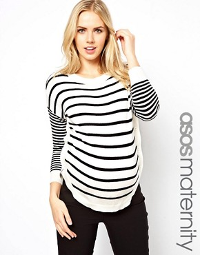 Image 1 ofASOS Maternity Jumper in Stripe With Button Side