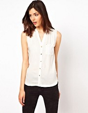 Warehouse Press Button Blouse