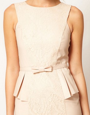 Image 3 ofWarehouse Embroidered Peplum Corset Dress