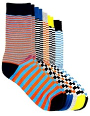 Jack &amp; Jones Edmon Stripe 5 Pack Socks