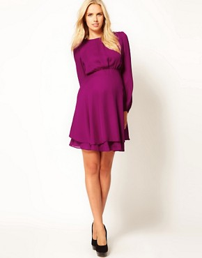 Image 4 ofASOS Maternity Double Layer Dress With Long Sleeves