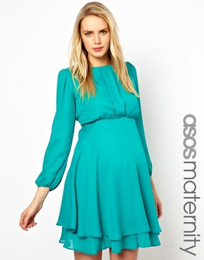 Image 1 ofASOS Maternity Double Layer Dress With Long Sleeves