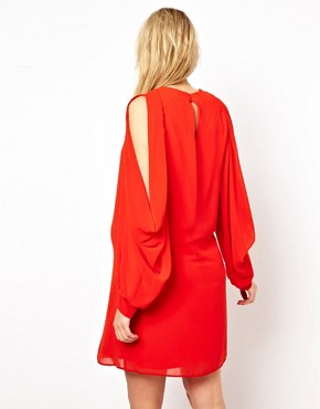 Image 2 ofASOS Maternity Exclusive Shift Dress With Cowl Slit Sleeve