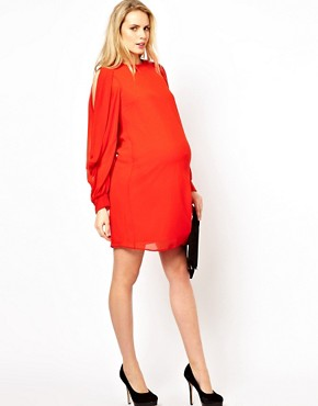 Image 4 ofASOS Maternity Exclusive Shift Dress With Cowl Slit Sleeve