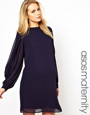Image 1 ofASOS Maternity Exclusive Shift Dress With Cowl Slit Sleeve