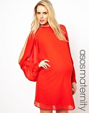 ASOS Maternity Exclusive Shift Dress With Cowl Slit Sleeve