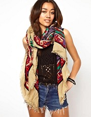River Island - Sciarpa pashmina con stampa navajo
