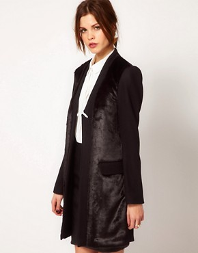 Image 1 ofWarehouse Fur Front Tailored Coat