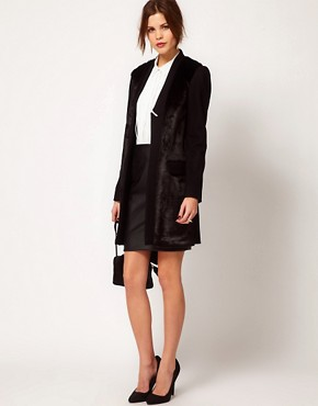 Image 4 ofWarehouse Fur Front Tailored Coat