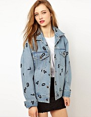 Ashish Oversized Denim Jacket with Numbers Print