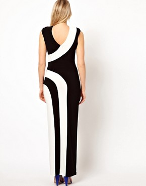 Image 2 ofLove Stripe Maxi Dress With Thigh Split