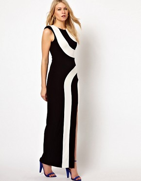 Image 4 ofLove Stripe Maxi Dress With Thigh Split