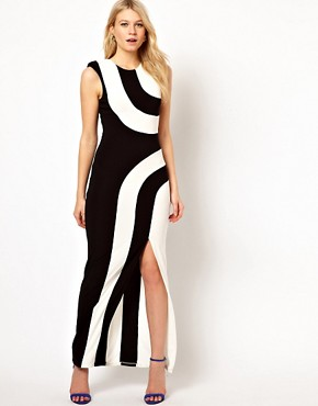 Image 1 ofLove Stripe Maxi Dress With Thigh Split