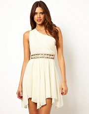 TFNC Embellished One Shoulder Dress with Handkerchief Hem
