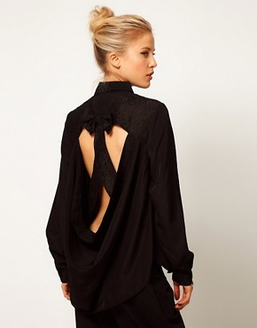Image 1 ofASOS Shirt With Cutout Lace Bow Back