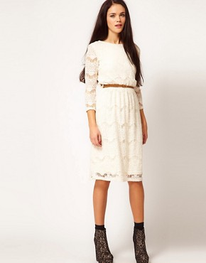 Image 1 ofRiver Island Chelsea Girl Lace Dress With Belt
