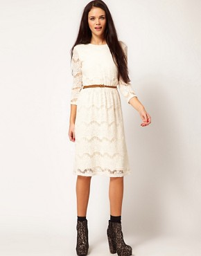 Image 4 ofRiver Island Chelsea Girl Lace Dress With Belt