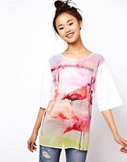 ASOS T-Shirt with Mirror Flamingo Print