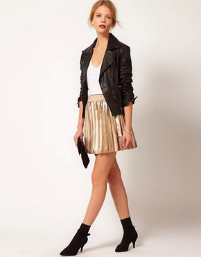Image 1 ofOasis Pleated Mini Skirt In Faux Leather