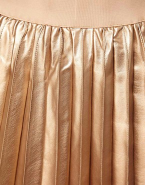 Image 3 ofOasis Pleated Mini Skirt In Faux Leather