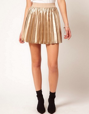 Image 4 ofOasis Pleated Mini Skirt In Faux Leather