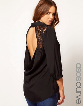 Image 1 ofASOS CURVE Exclusive Blouse With Lace Insert &amp; Cowl Back