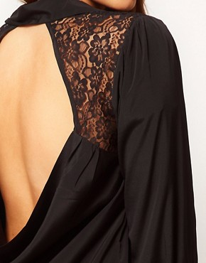 Image 3 ofASOS CURVE Exclusive Blouse With Lace Insert &amp; Cowl Back