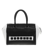 Faith Monochrome Oversized Stud Winged Barrel Bag