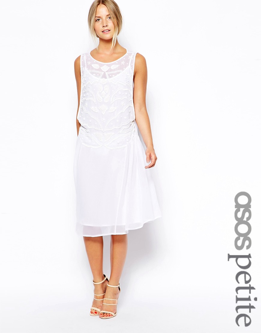 ASOS PETITE Exclusive Embellished Midi Smock Dress - White