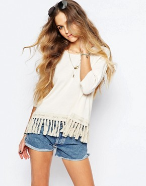 Maison Scotch Short Sleeve Knit with Fringed Hem