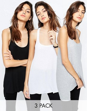 ASOS Vest With Step Back Hem In Rib 3 Pack Save 15%