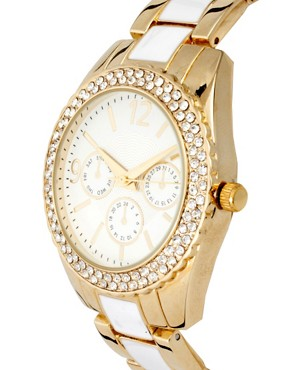 Image 3 ofASOS Gold and White Links Boyfriend Watch