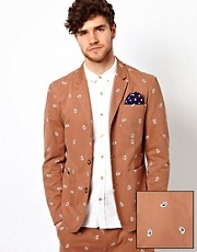 ASOS Slim Fit Blazer in Embroidered Paisley