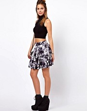 Glamorous Mini Skater Skirt In Tie Dye