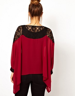 Image 2 ofASOS CURVE Top With Lace Trim and Cuff
