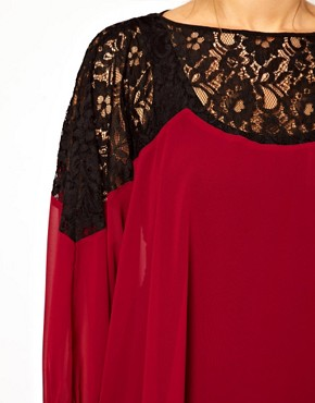 Image 3 ofASOS CURVE Top With Lace Trim and Cuff
