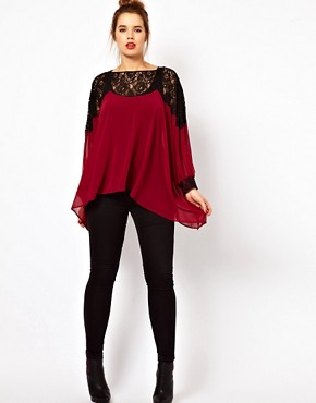 Image 4 ofASOS CURVE Top With Lace Trim and Cuff