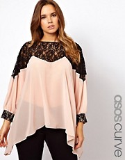 ASOS CURVE Top With Lace Trim and Cuff