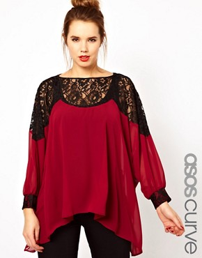 Image 1 ofASOS CURVE Top With Lace Trim and Cuff