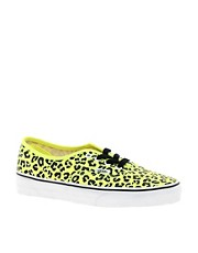 Vans Authentic  Turnschuhe mit Leopardenmuster in Neongelb