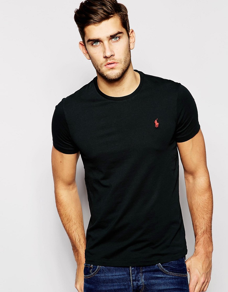 polo ralph lauren polo ralph lauren t shirt with crew neck in black at asos. Black Bedroom Furniture Sets. Home Design Ideas
